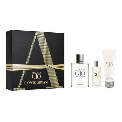 Giorgio armani acqua di gio pour homme zestaw edt 100 ml + edt 15 ml + żel pod prysznic 75 ml dla mężczyzn (3614271878663)