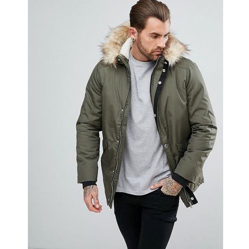 River island parka jacket with faux fur trim in khaki - green