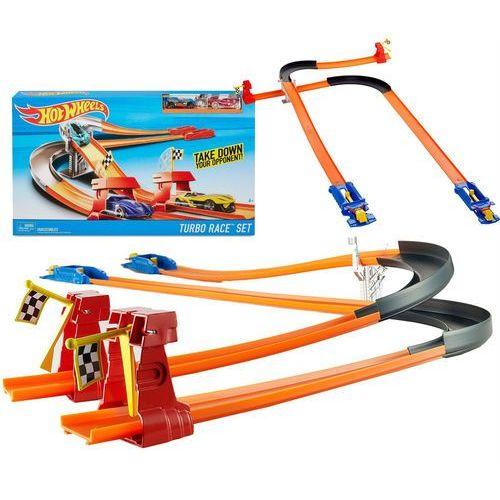 hot wheels tor wyścigowy turbo race i dwa autka fpv64 marki Mattel