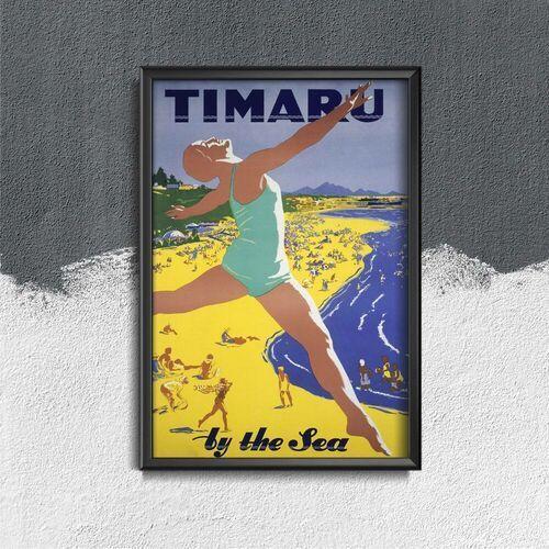 Plakat vintage do salonu Plakat vintage do salonu Timaru Nowa Zelandia nad morzem