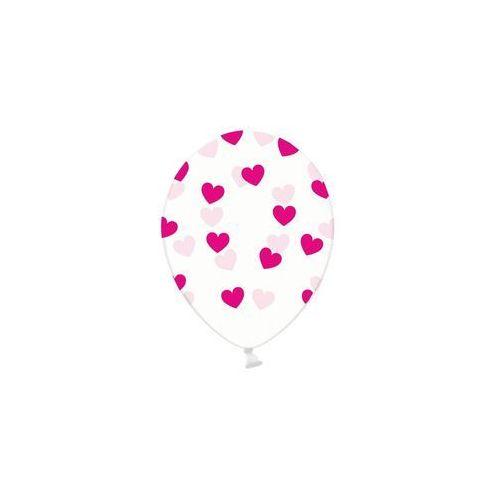 Party deco Balony przeźroczyste serduszka różowe - 30 cm - 5 szt.