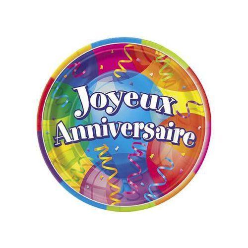 Talerzyki urodzinowe Joyeux Anniversaire - 23 cm - 8 szt.
