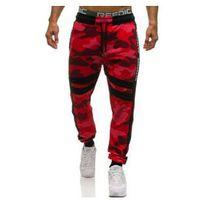 Spodnie męskie dresowe joggery moro-czerwone denley 0877, Athletic