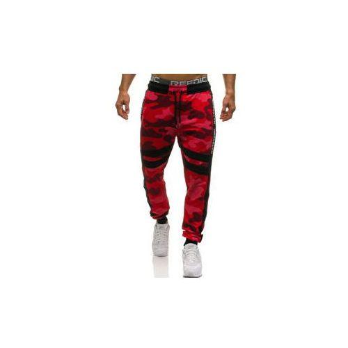 Spodnie męskie dresowe joggery moro-czerwone Denley 0877, dresowe
