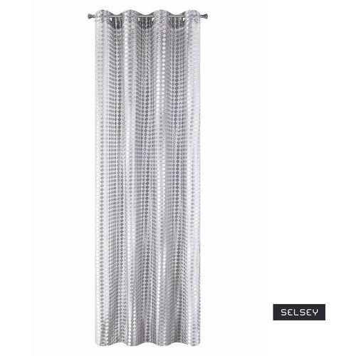 SELSEY Firana na przelotkach Kergal 140x250 cm o strukturze siateczki o grubych oczkach srebrna, kolor srebrny