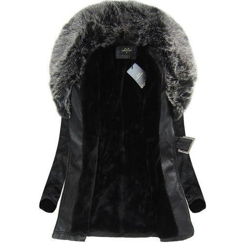 Płaszczyk z futerkiem czarno-szary (5518big) marki Libland