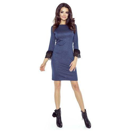 Granatowa Sukienka Ołówkowa z Koronkowymi Falbankami przy Rękawach, B74-01dbe
