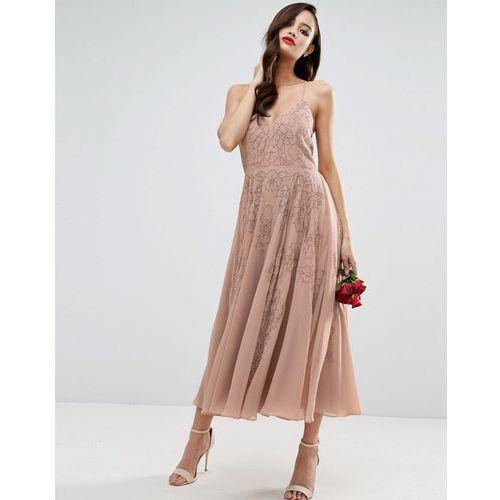 wedding cami strap embellished maxi dress - beige marki Asos