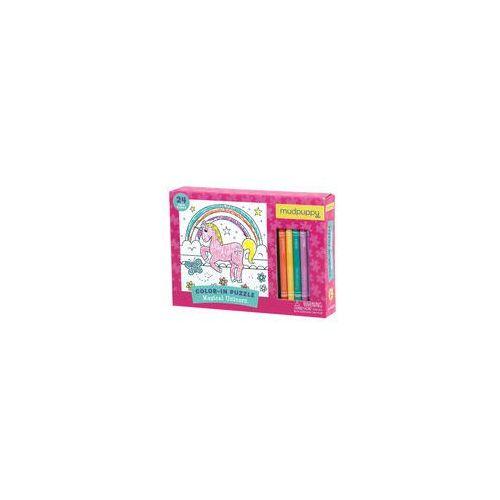 Puzzle do kolorowania z 5 kredkami Mudpuppy (Magiczny Jednoro�ec), MP48585