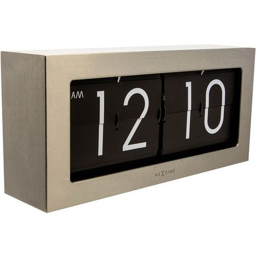 Nextime Zegar stołowy big flip srebrny (8717713015222)