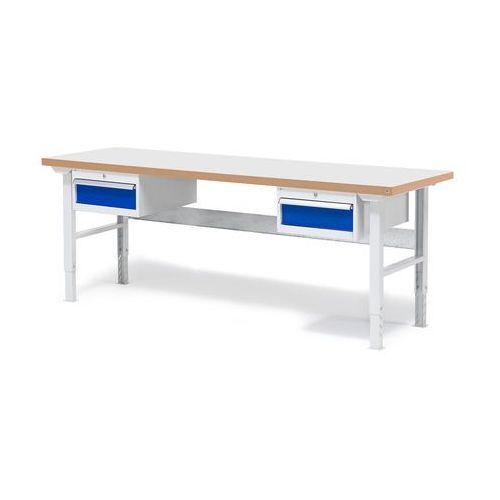 Stół warsztatowy solid, zestaw z 2 szufladami, 500 kg, 2000x800 mm, laminat marki Aj produkty