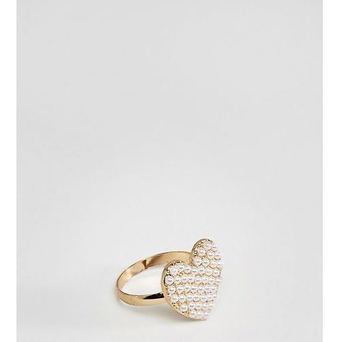 Asos curve Asos design curve ring with pearl heart in gold - gold