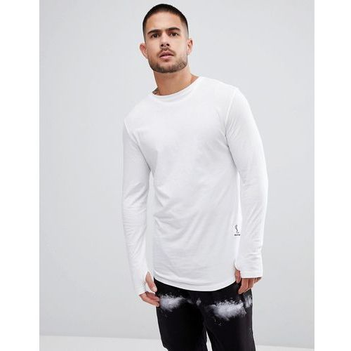 long sleeve t-shirt with curved hem and double neck - white, Religion, XS-XL