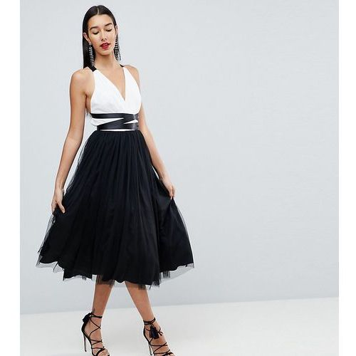 ASOS TALL PREMIUM Tulle Midi Prom Dress With Ribbon Ties - Multi