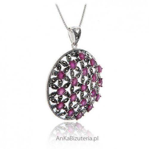 fbe594fdd616a7 Ankabizuteria.pl biżuteria srebrna wisior srebrny rubin i markazyty marki  Anka biżuteria