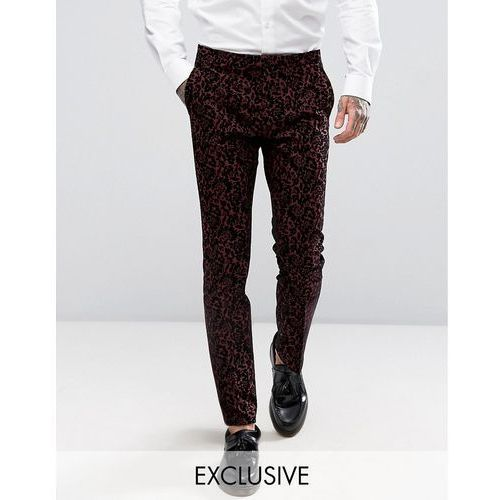 super skinny suit trouser with floral flocking - red wyprodukowany przez Noose & monkey