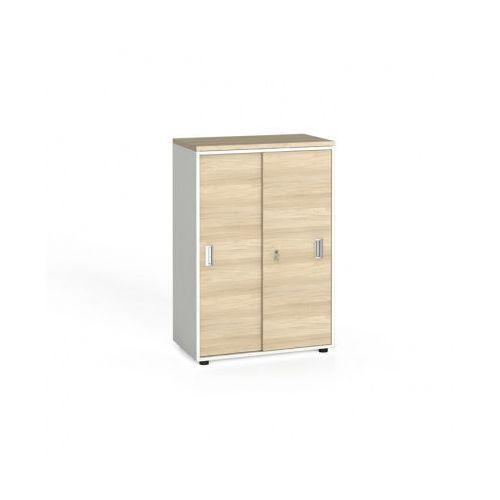 B2b partner Szafa biurowa przesuwne drzwi, 1087x800x420 mm, biały / dąb naturalny