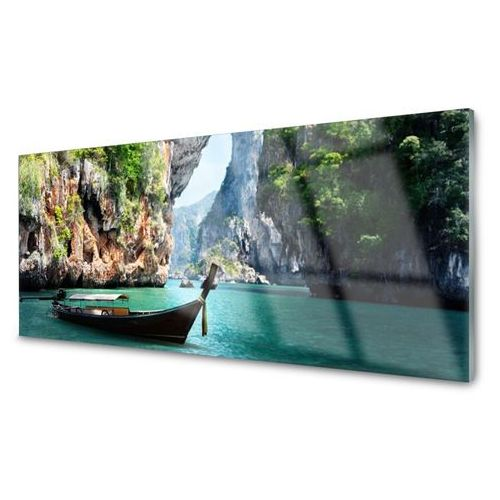 Tulup.pl Panel kuchenny łódź jezioro skały krajobraz