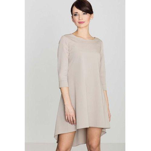 Beżowa asymetryczna sukienka z plisami, Katrus, 36-42