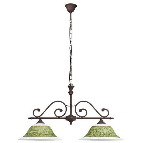 Lampa wisząca Rabalux Elizabeth 7744 2x60W E27 brąz antyczny/szkło alabastrowe/zielony, 7744
