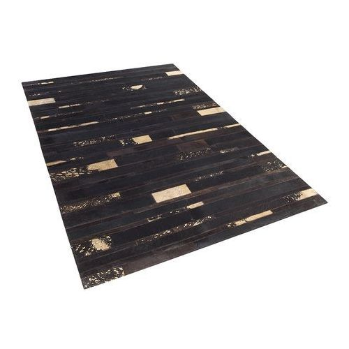 Dywan - brązowo - złoty - skóra - patchwork - 140x200 cm - artvin marki Beliani