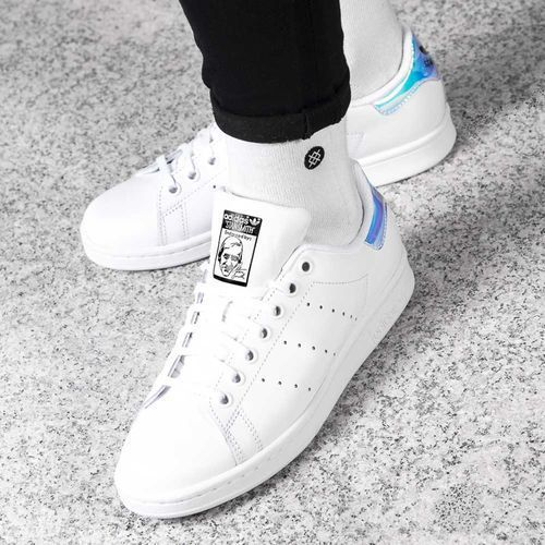 Adidas STAN SMITH J 272 FOOTWEAR WHITE METALLIC SILVER FOOTWEAR WHITE - Buty Damskie Sneakersy, kolor biały