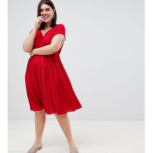 ASOS DESIGN Curve casual midi tea dress - Red, 1 rozmiar