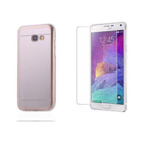 Zestaw   Slim Mirror Case Srebrny   Etui + Szkło ochronne Perfect Glass dla modelu Samsung Galaxy A3 2017