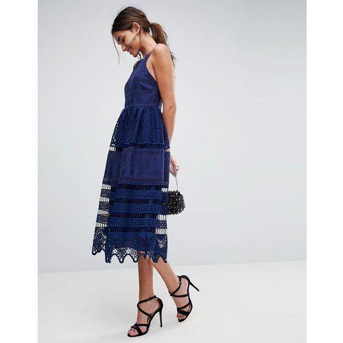 premium broderie lace midi dress - navy marki Asos