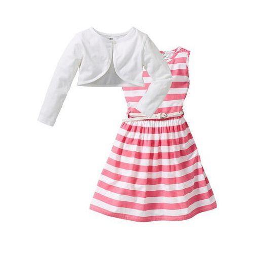 Bonprix Sukienka + pasek + bolerko (3 części)  jaskrawy jasnoróżowy - biały w paski, kategoria: bolerka dla dzieci