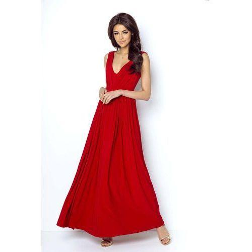 Czerwona elegancka maxi sukienka z dekoltem v z przodu i na plecach marki Ivon
