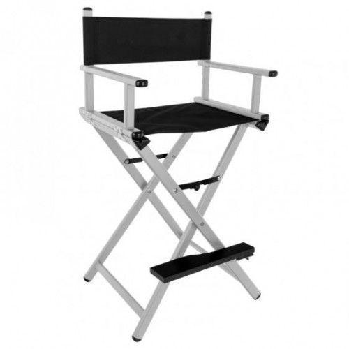 Krzesło Do Makijażu Glamour Aluminiowe Srebrne Z Czarnym Materiałem