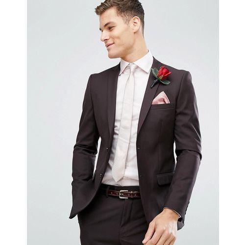 French Connection Skinny Wedding Suit Jacket In Dark Burgundy - Red, kolor czerwony