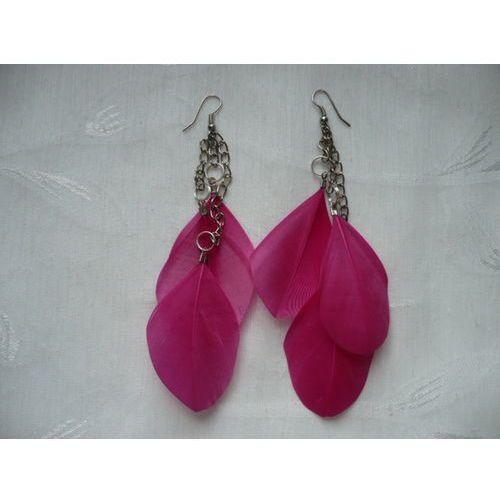 K - 000238 Kolczyki z różowymi piórkami