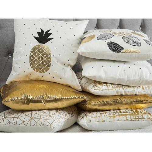 Beliani Poduszka dekoracyjna liście bawełniana czarna/złota 45 x 45 cm (4260624110493)