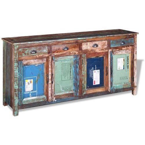 Vidaxl komoda z 4 szufladami i poczwórnymi drzwiczkami, solidnego drewna odzyskanego