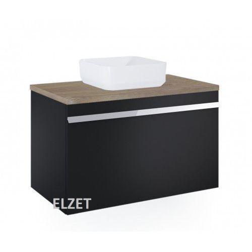 ELITA szafka Moody black matt pod umywalkę nablatową + blat 90 dąb classic 167687+167041