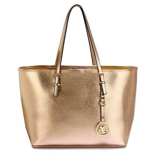 Złota torebka shopperka na ramię - złoty, kolor żółty