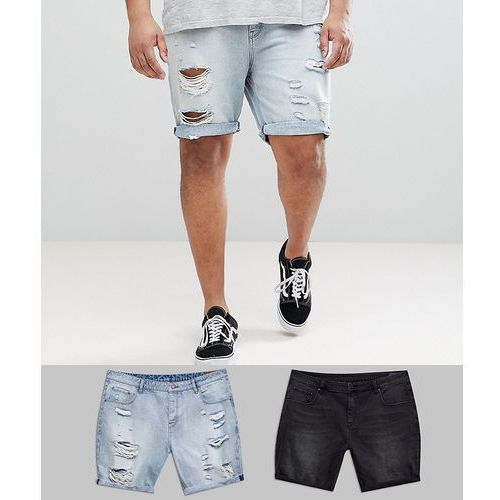 plus denim shorts in slim washed black & light wash with heavy rips - multi, Asos