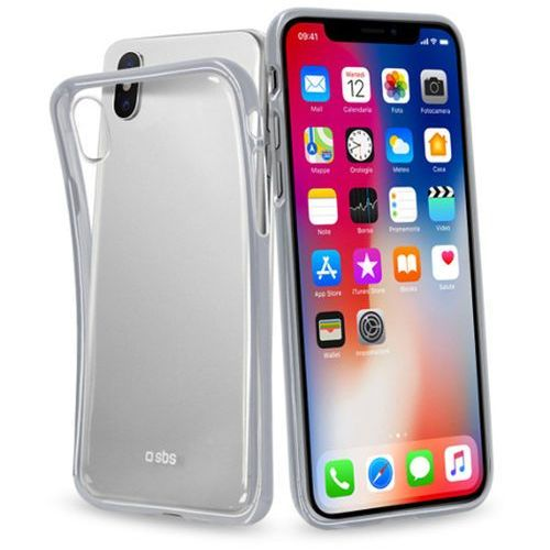 Sbs Etui extra slim cover do apple iphone xs/x przezroczysty ze srebrnymi krawędziami (8018417243240)