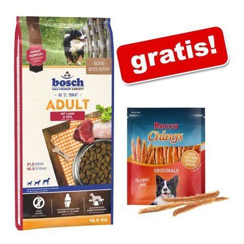 Bosch high premium concept Duże opakowanie bosch + rocco chings mięsne paski do żucia gratis! - adult poultry & millet, drób i proso, 15 kg  dostawa gratis + promocje  -5% rabat dla nowych klientów