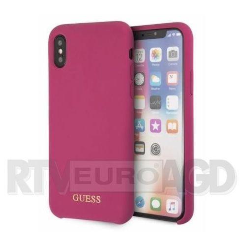 Guess etui hardcase guhcpxlsglpi iphone x różowy silicone (3700740432907)