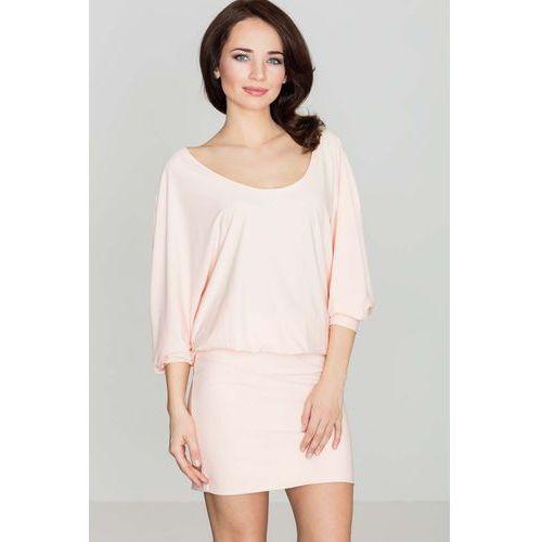 Różowa casualowa zbluzowana sukienka mini z długim rękawem marki Katrus