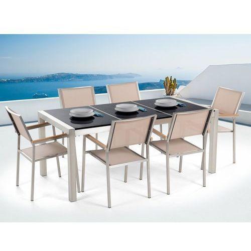 Beliani Zestaw ogrodowy naturalny kamień 180 cm 6 osobowy beżowe krzesła grosseto (7081458021710)