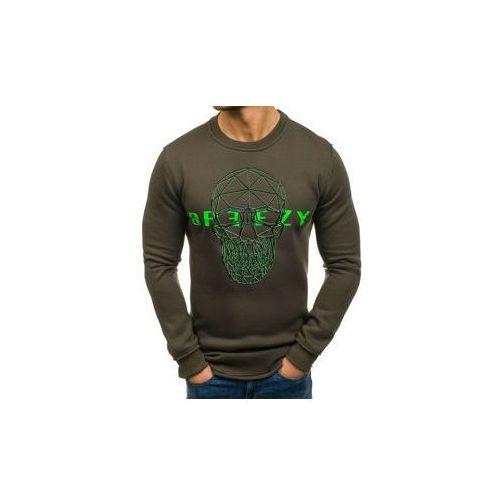 Długa bluza męska bez kaptura z nadrukiem zielona denley 171625, Breezy