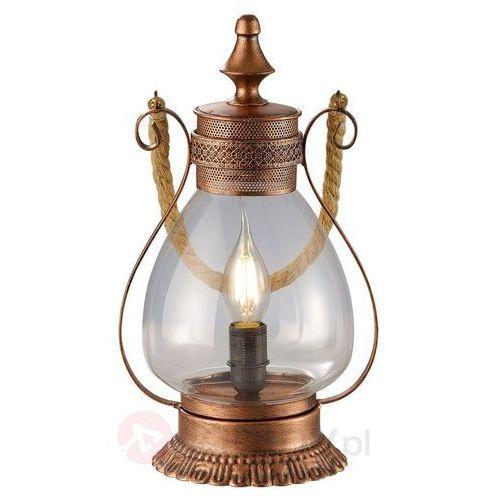 Trio leuchten Lampa stołowa linda z antyczną nutą, miedziany