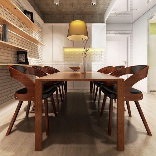 Vidaxl krzesła do jadalni, 6 szt., drewno i sztuczna skóra, brązowe