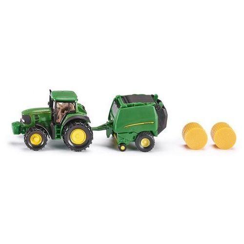 , traktor john deere z prasą, model marki Siku