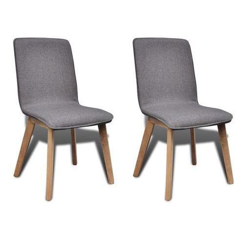 vidaXL Krzesła jadalniane z dębową ramą, 2 szt, materiał, ciemnoszare (8718475882404)