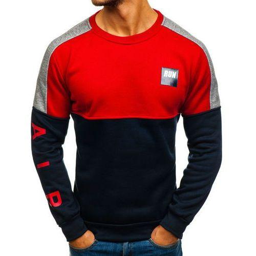 Bluza męska bez kaptura z nadrukiem granatowo-czerwona Denley HY313, kolor niebieski